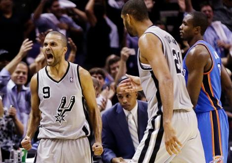 Parker e Duncan celebram triunfo sobre o Thunder